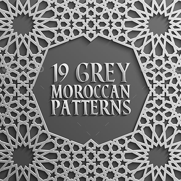 Grey Islamic Seamless Pattern Set 2