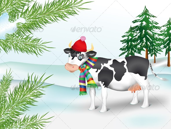 Cow in winter coniferous wood - Animals Characters