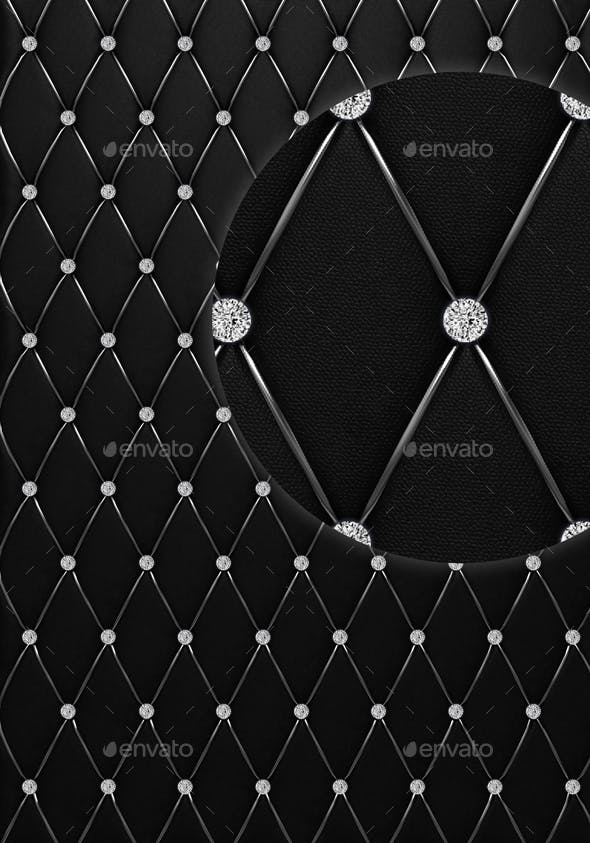 Black Button Tufted Leather Background With Diamonds By