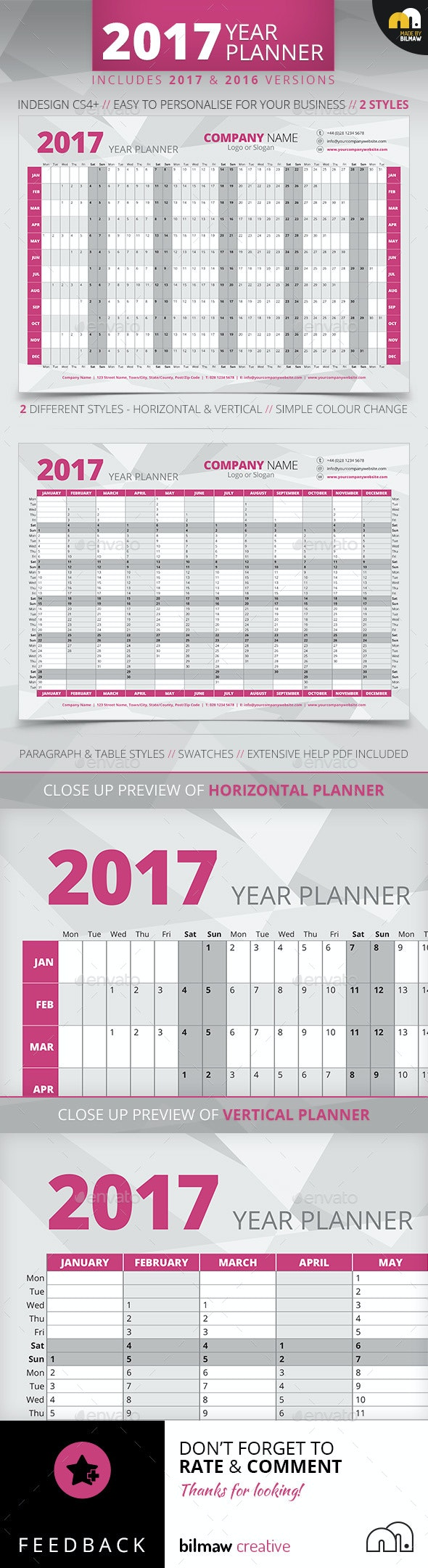 Year Wall Planner - Calendars Stationery