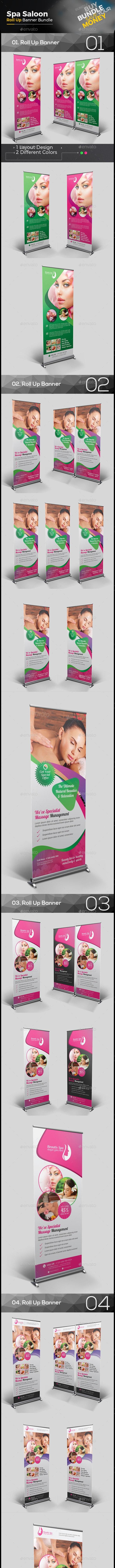 Spa Salon Roll Up Banner Bundle - Signage Print Templates