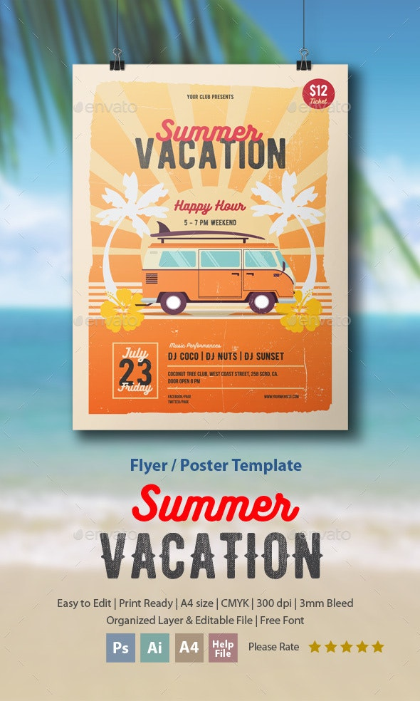 Summer Vacation Flyer/Poster - Holidays Events