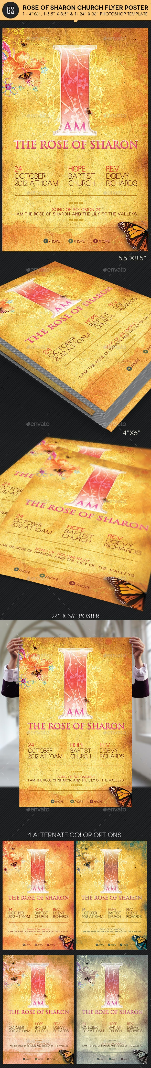 Rose of Sharon Church Flyer Poster Template - Church Flyers