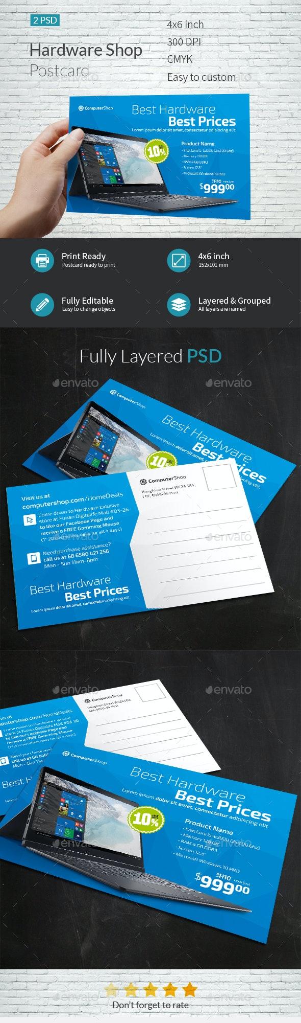 Computer Hardware Shop Postcard Template - Cards & Invites Print Templates