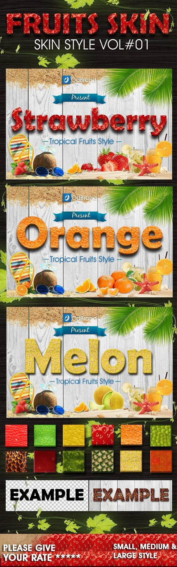 Tropical Fruit Skin Vol.1 - Text Effects Styles