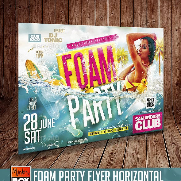 Foam Party Flyer Horizontal
