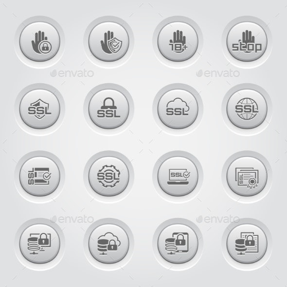Button Design Security And Protection Icons Set.