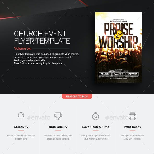 Praise And Worship - Church Flyer