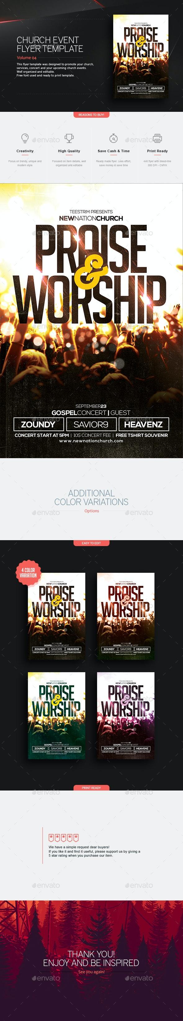 Praise And Worship - Church Flyer - Church Flyers