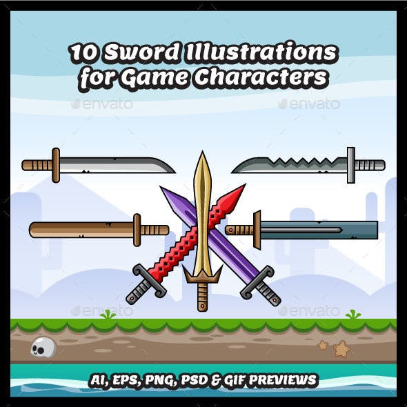 10 Swords Illustrations for Game Character