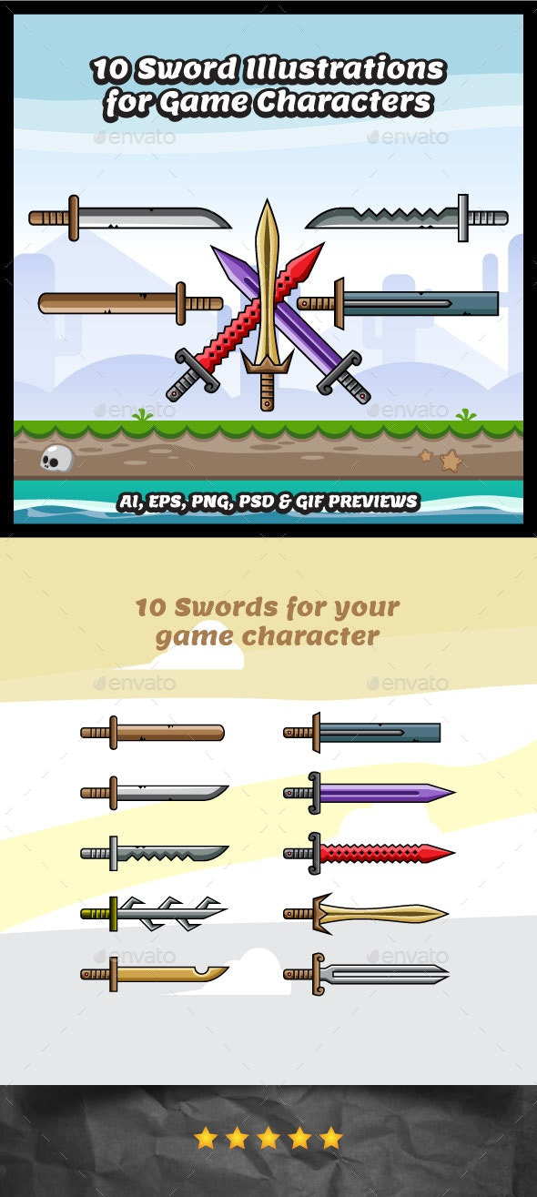 10 Swords Illustrations for Game Character - Miscellaneous Game Assets