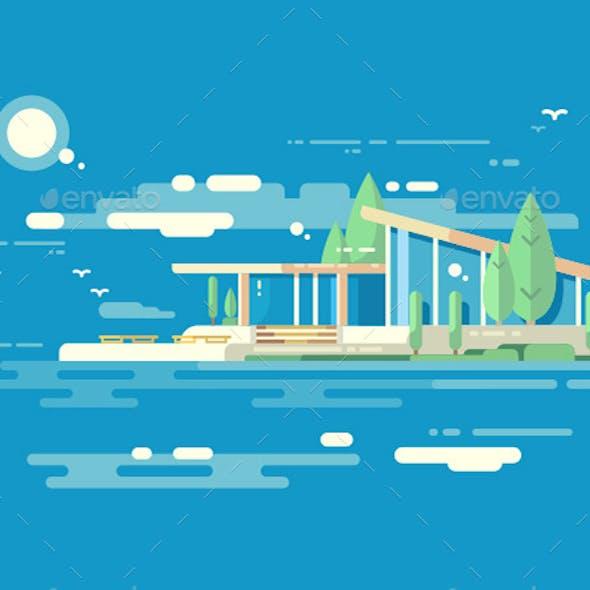 Modern House Design Flat Style