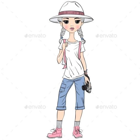 Girl Traveler with Photo Camera