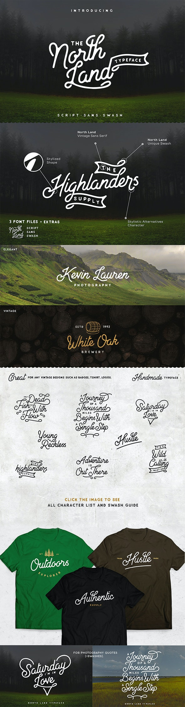 North Land Typeface 3 in 1 - Script Fonts