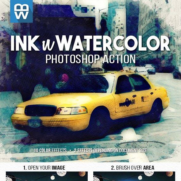 Ink n Watercolor Photoshop Action