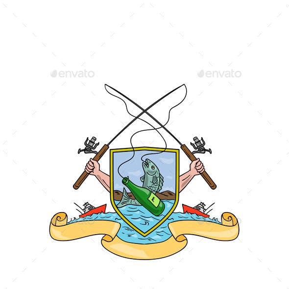 Fishing and Beer Bottle Coat of Arms Drawing