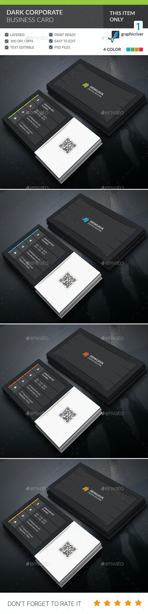 Dark Corporate Business Card - Corporate Business Cards