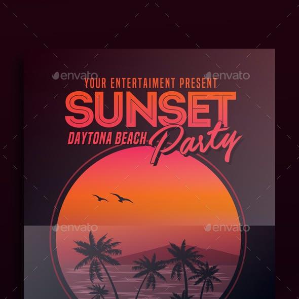 Sunset Beach Party Flyer