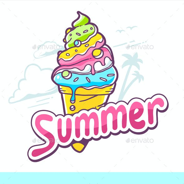 Ice Creams with Inscriptions and Colorful Pattern