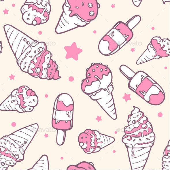 Set of Colorful Patterns with Ice Creams
