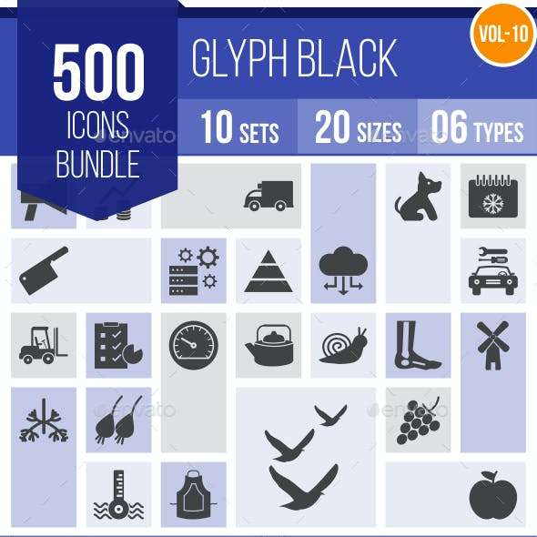500 Vector Glyph Icons Bundle (Vol-10)