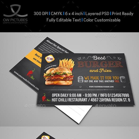 Burger Restaurant Postcard Template