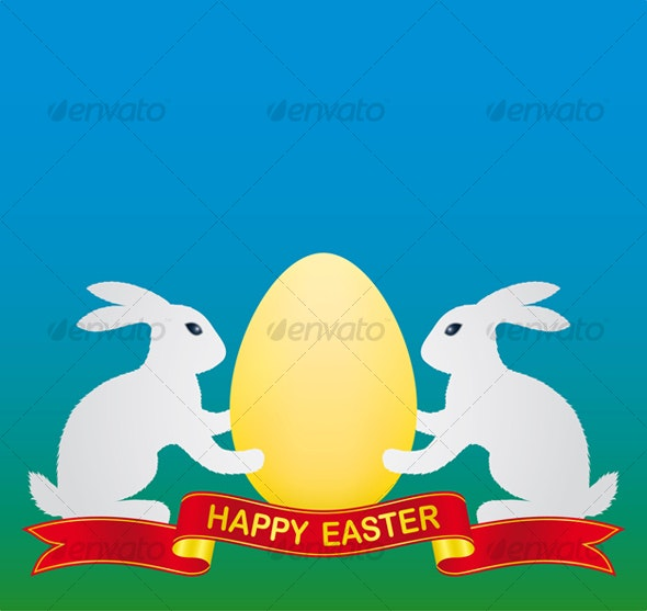 white easter bunny and gold easter egg - Seasons/Holidays Conceptual