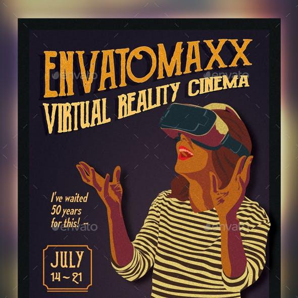 Vintage Virtual Reality Cinema Flyer