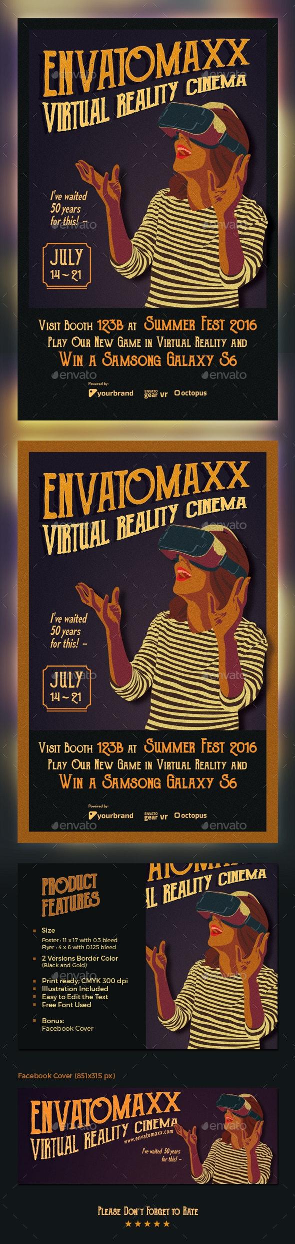 Vintage Virtual Reality Cinema Flyer - Events Flyers