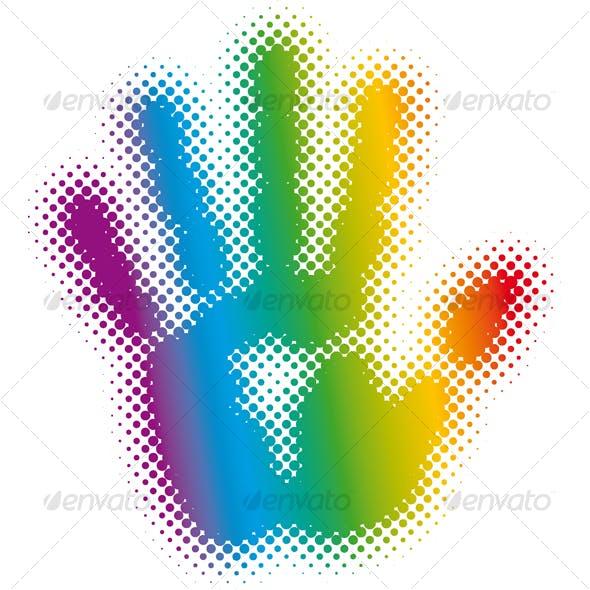 halftone rainbow hand