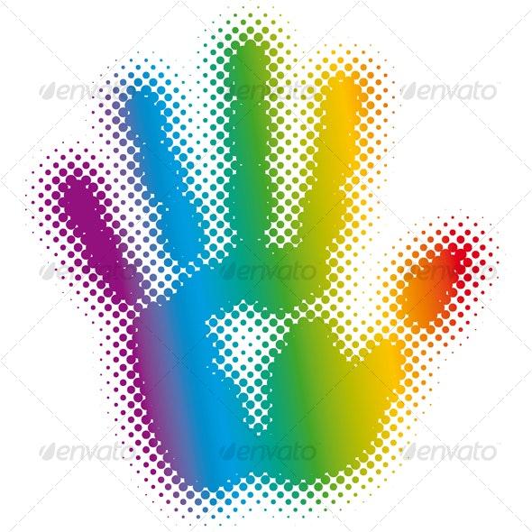 halftone rainbow hand - Decorative Symbols Decorative
