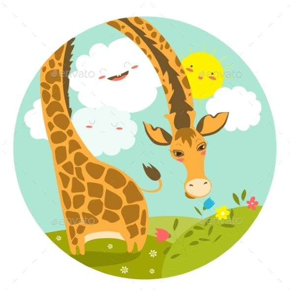 Cute Giraffe Smelling a Flower