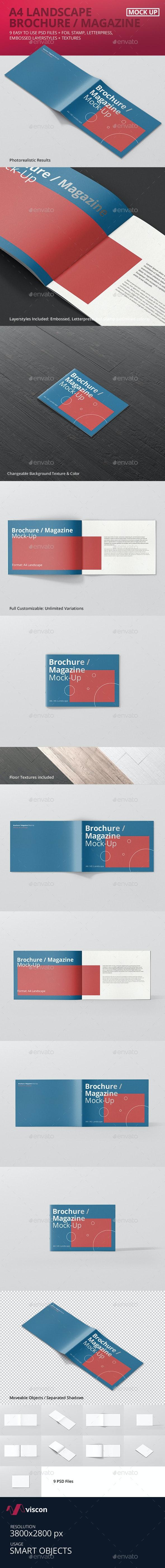 A4 Landscape Brochure / Magazine Mock-Up - Magazines Print