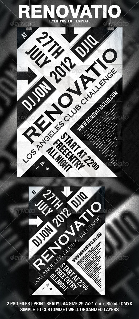 Renovatio - Typography Flyer / Poster - Clubs & Parties Events