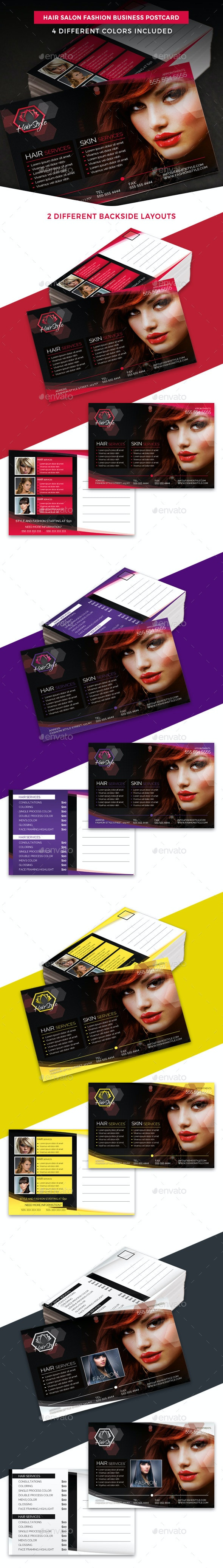 Hair Salon Fashion Business Postcard Template - Cards & Invites Print Templates