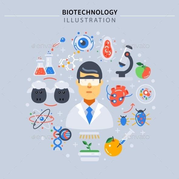 Biotechnology Colored Composition - Conceptual Vectors