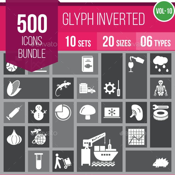 500 Vector Inverted Glyph Icons Bundle (Vol-10)