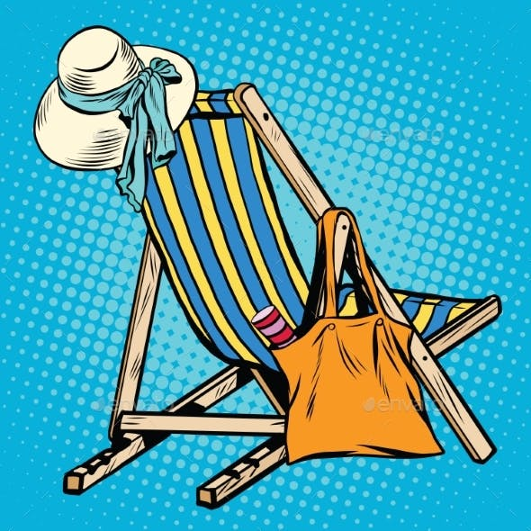 Deck Chair With Beach Things Women
