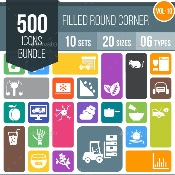 500 Vector Round Corner Colorful Flat Icons Bundle (Vol-10)