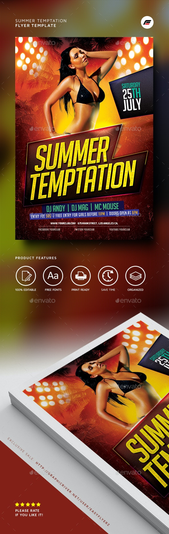 Summer Temptation Flyer Template - Events Flyers