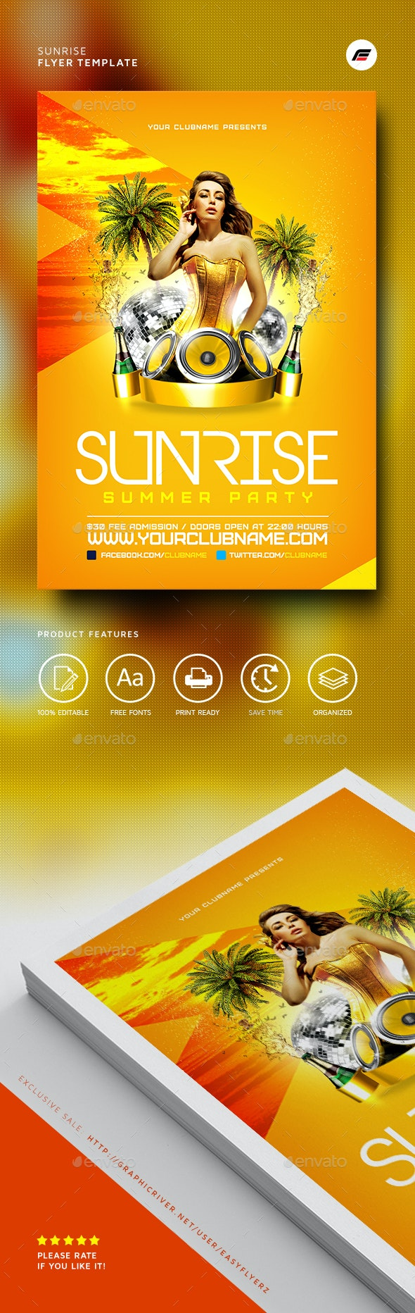 Sunrise Flyer Template - Events Flyers