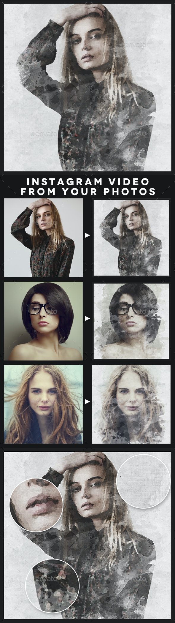 Animated Ink Portrait Template - Artistic Photo Templates