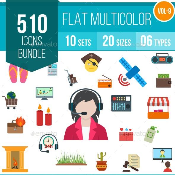 510 Vector Colorful Flat Icons Bundle (Vol-9)