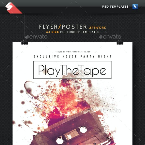 Play The Tape - Minimal Party Flyer Template A3