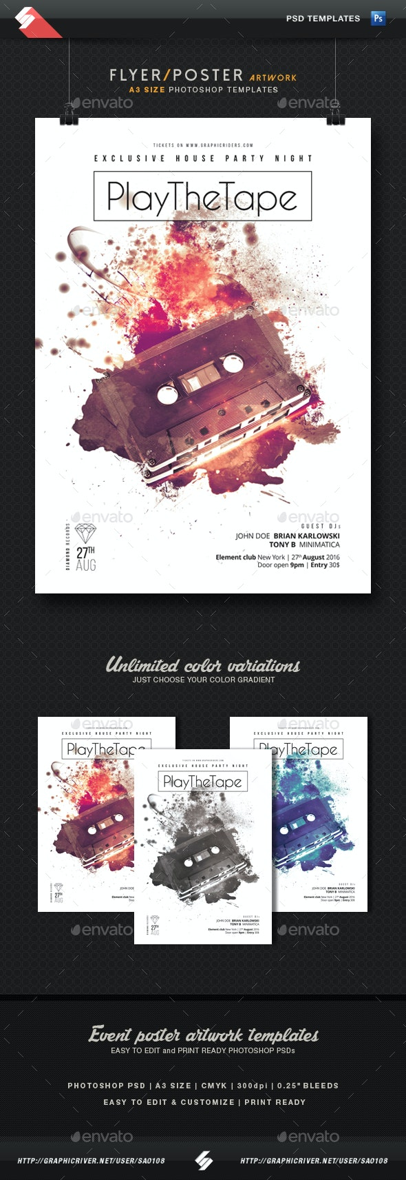 Play The Tape - Minimal Party Flyer Template A3 - Clubs & Parties Events