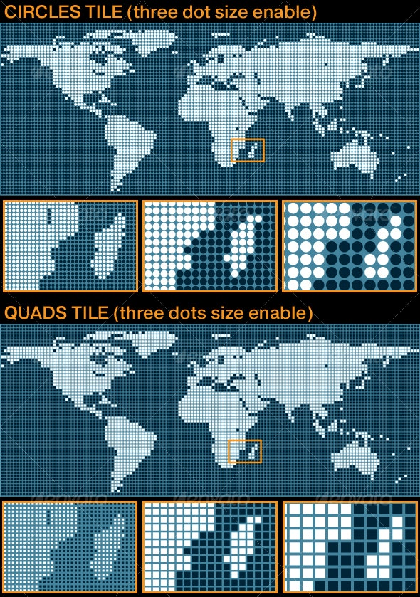 World Map in tiles style - Backgrounds Decorative
