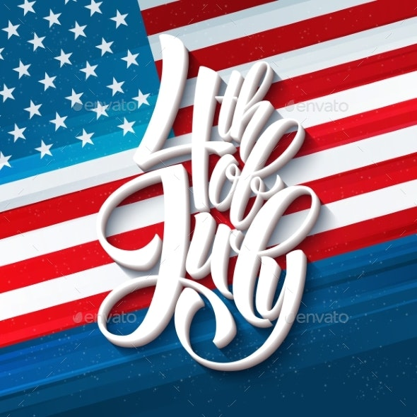 American Independence Day Lettering Design. - Decorative Symbols Decorative