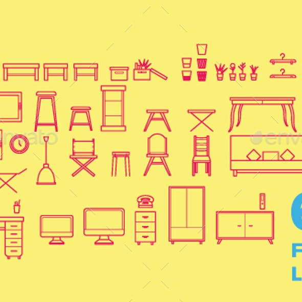 Furniture Line Icons Vector