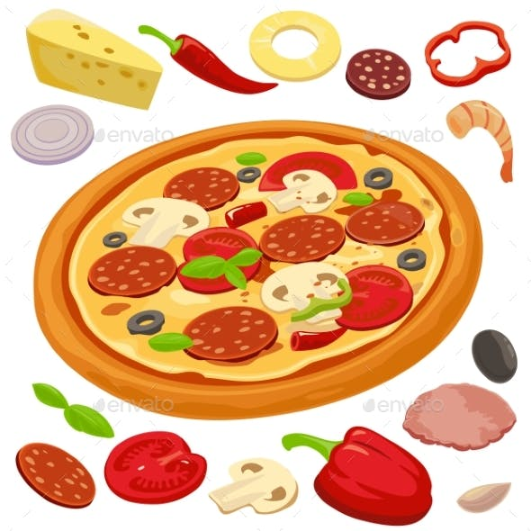 Whole Pizza and the Ingredients for a Pizza