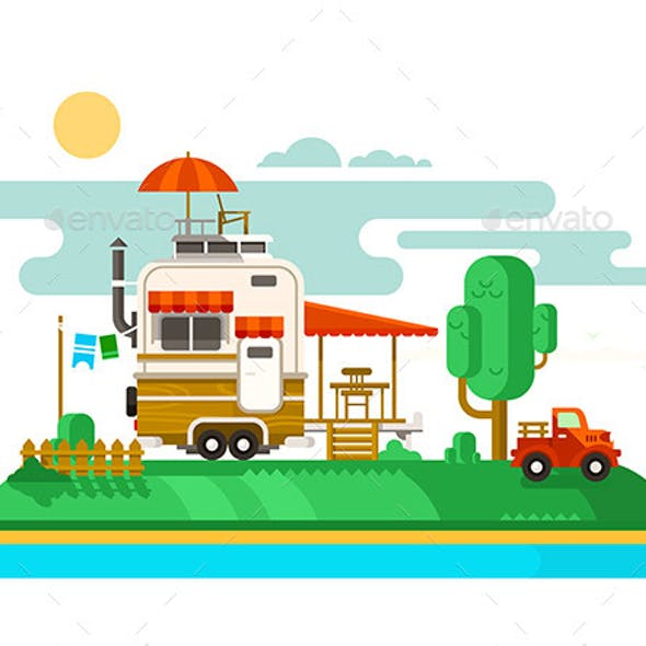 Vacation Trailer Flat Design